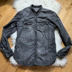 Kooples washed effect denim button shirt fitted M